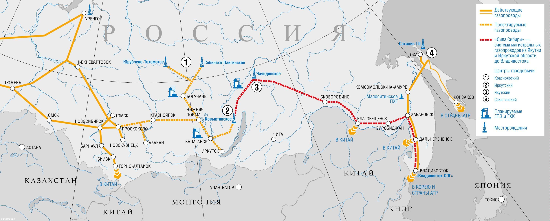 Схема газопровода сила сибири на карте