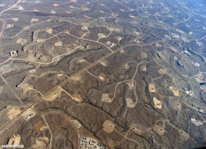 Вот как теперь выглядит их территория.  Схема загрязнения водоносных горизонтов от добычи сланцевого газа.