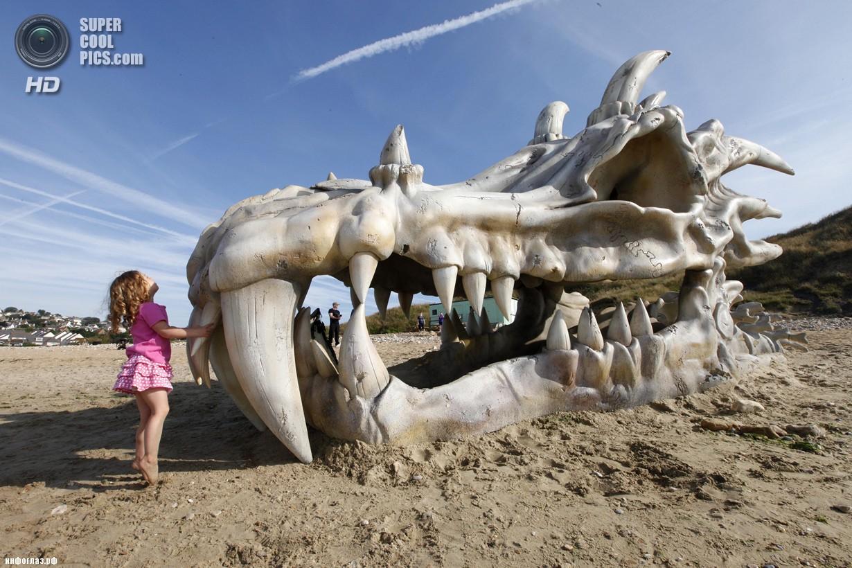 Великобритания. Лайм-Реджис, Дорсет, Англия. 15 июля. Панта Брэдбери у скульптуры в виде черепа дракона. (David Parry/PA)