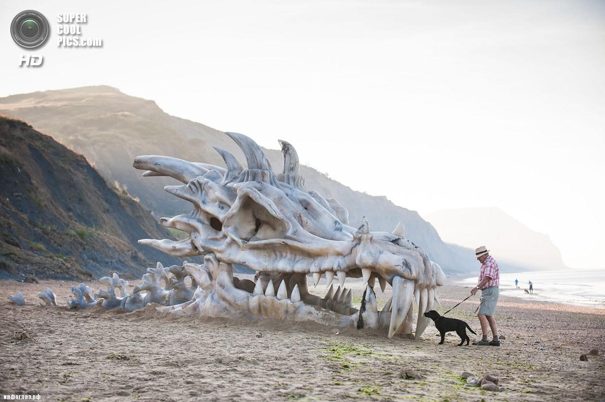 Великобритания. Лайм-Реджис, Дорсет, Англия. 15 июля. Мужчина с собакой у скульптуры в виде черепа дракона. (DANIEL LEWIS/blinkbox)