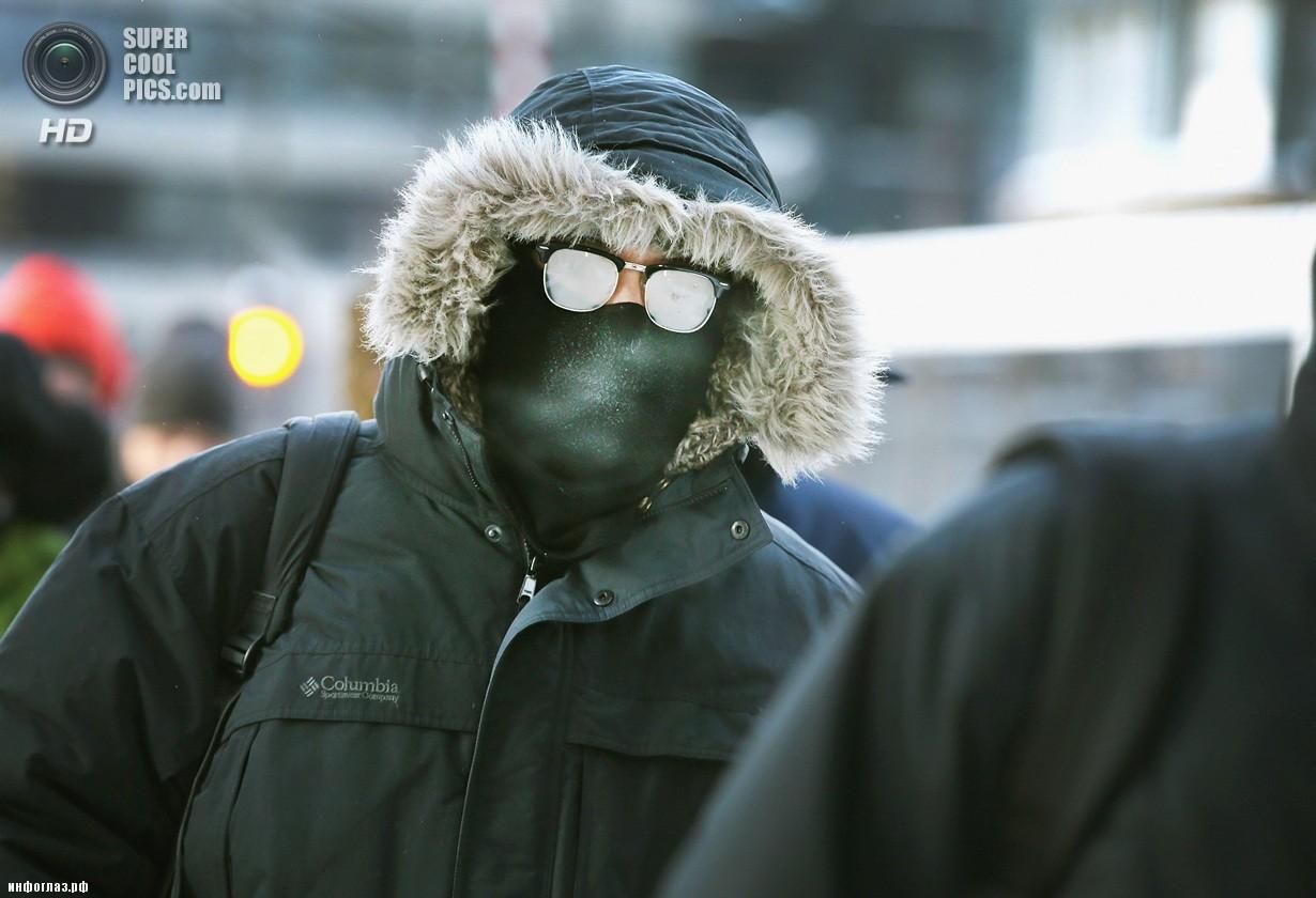 США. Чикаго, Иллинойс. 6 января. Последствия рекордных морозов. (Scott Olson/Getty Images)